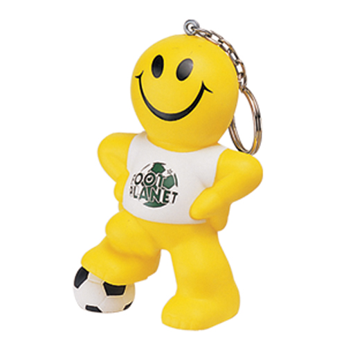 Stress Smiley Football Man Keyring