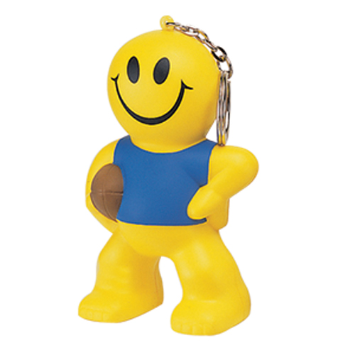 Stress Smiley Rugby Man Keyring